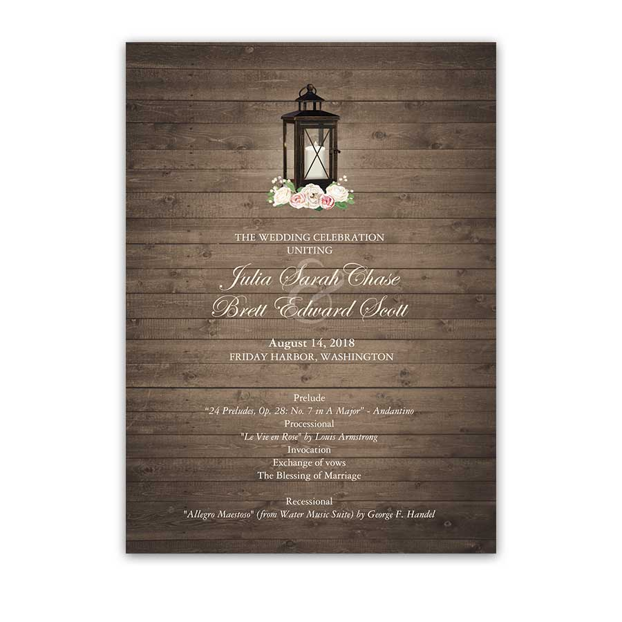 Rustic Wedding Programs Order of Service Lantern Theme