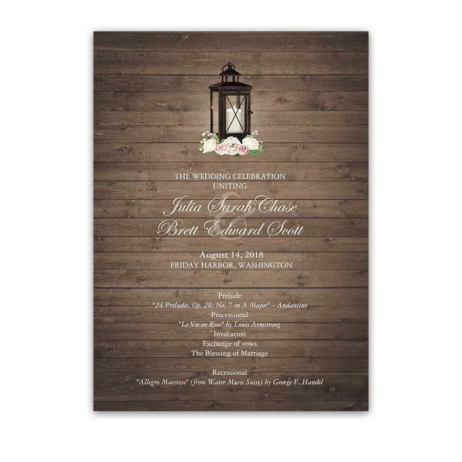 Rustic Wedding Programs Order Of Service Lantern Theme