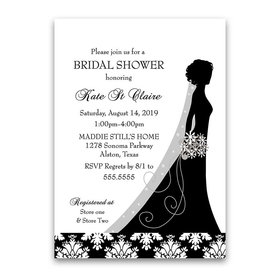 Damask wedding bridal shower invitations black white floral filmwisefo