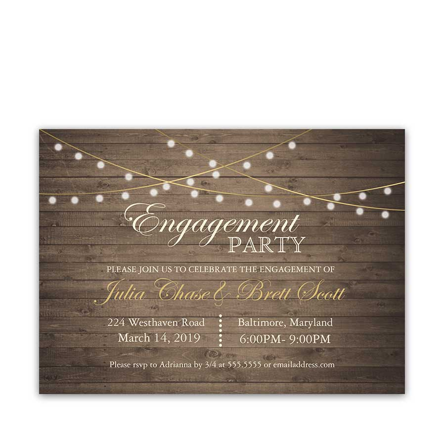 Engagement Party Invitations Barn Wood String Lights Gold