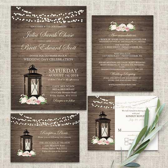 rustic wedding invitations metal lantern blush florals - Lantern Wedding Invitations