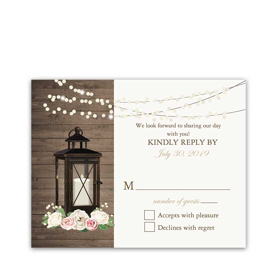 Rustic Wedding RSVP Reply Card Metal Lantern Blush Florals