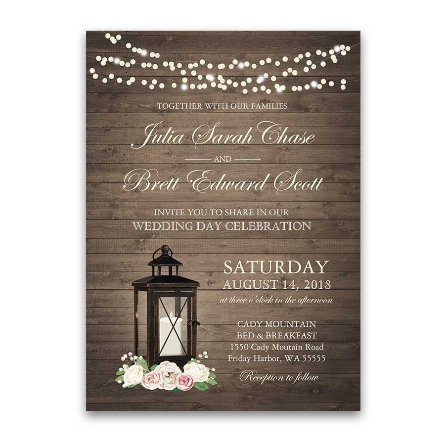 Rustic Wedding Invitations Metal Lantern Blush Florals