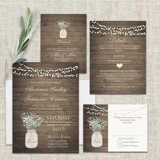 Wedding Invitations Mason Jar: Rustic Mason Jar Wedding Invitation With Babys Breath