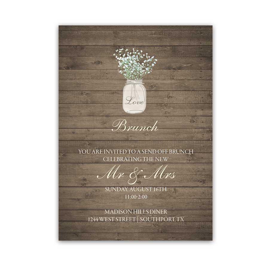 rustic mason jar wedding invitation with babys breath mason jar wedding invitations Rustic Mason Jar Wedding Reception Details Cards