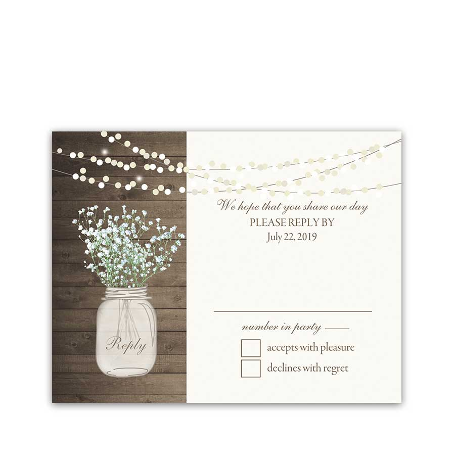 Rustic Mason Jar RSVP Reply Cards Babys Breath