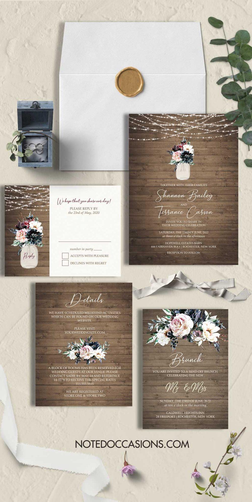 Rustic Wedding Invitations Watercolor Florals in Jar