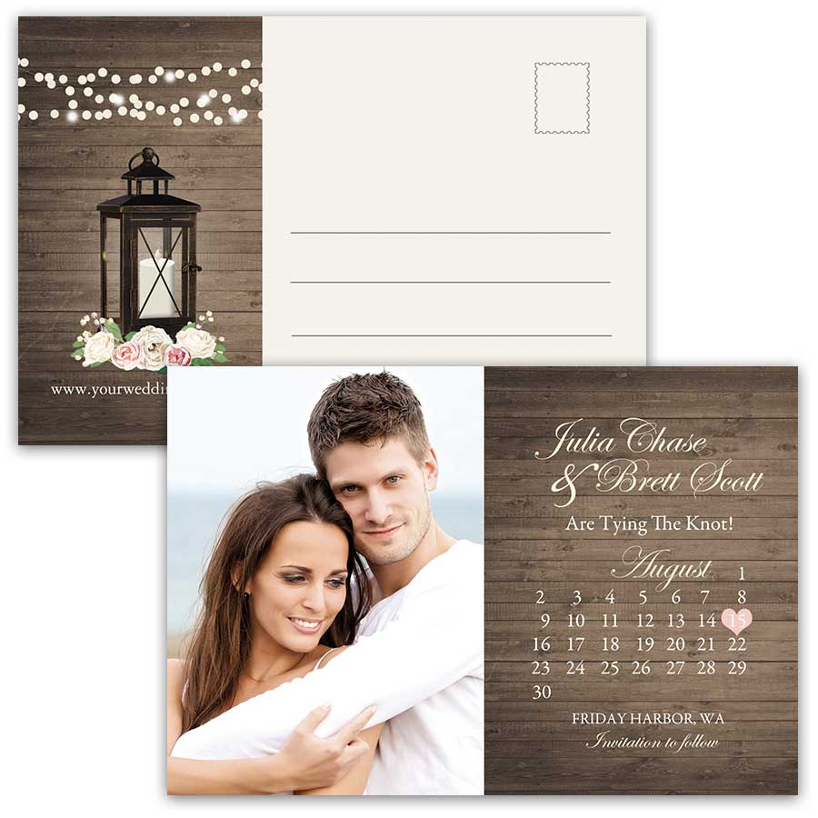Postcard Save the Dates Photo Calendar Style Rustic Lantern