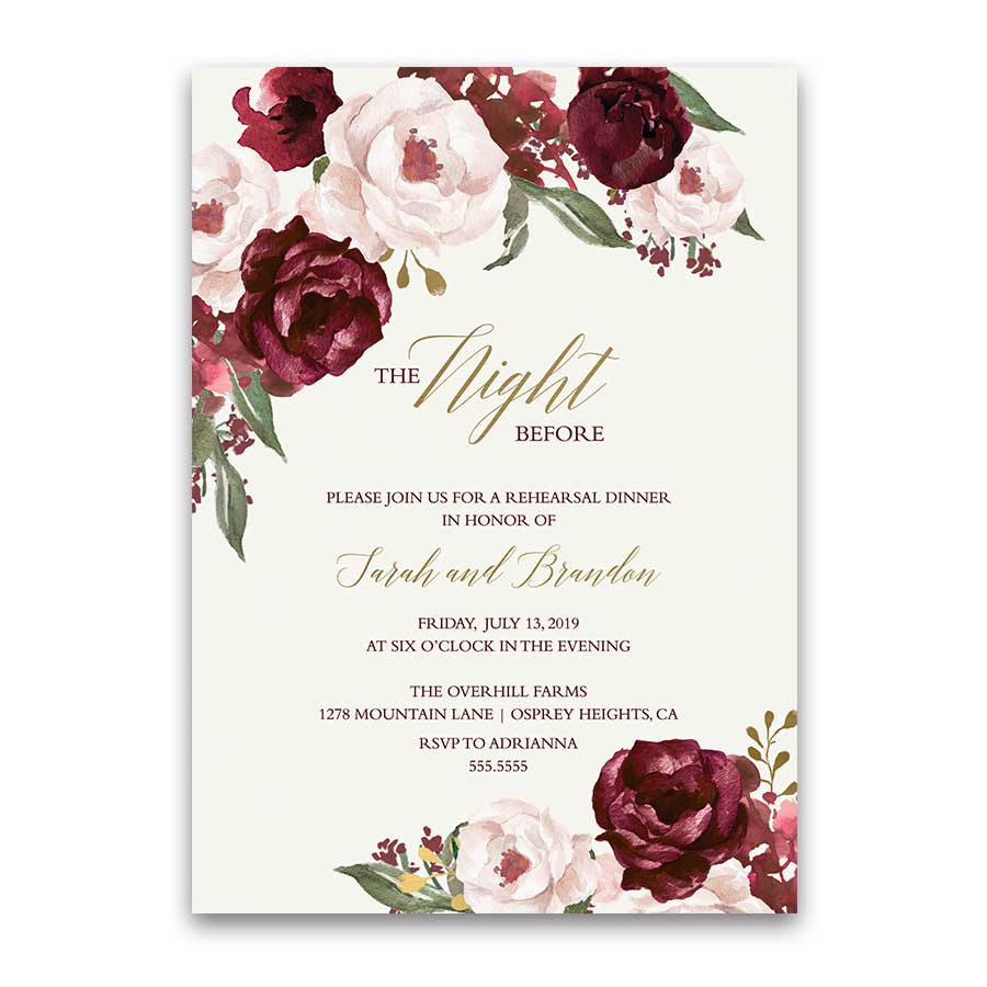 Floral wedding rehearsal dinner invitations burgundy gold junglespirit Image collections