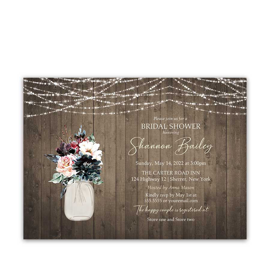 Rustic Bridal Shower Invitation Navy Blue and Plum