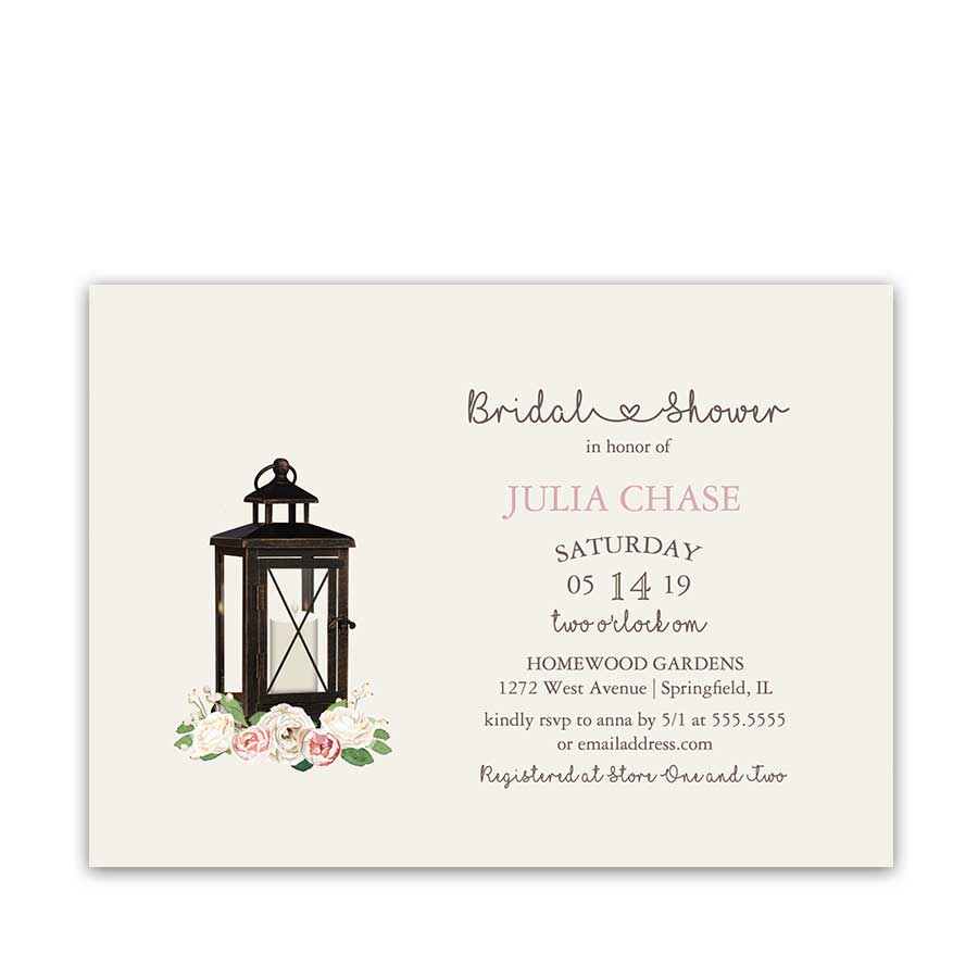 Rustic Bridal Shower Invitation Metal Lantern Blush Peonies