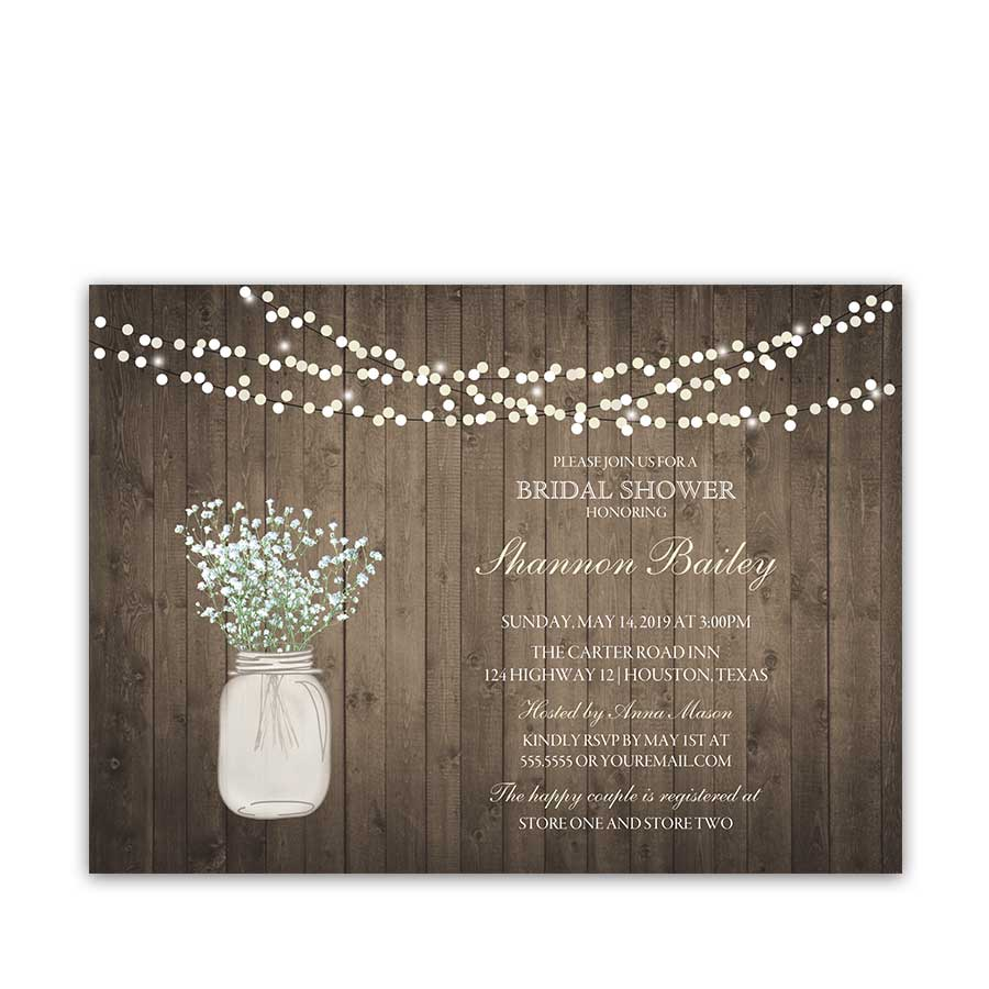 Rustic mason jar wedding invitation with babys breath - Wedding bridal shower ...