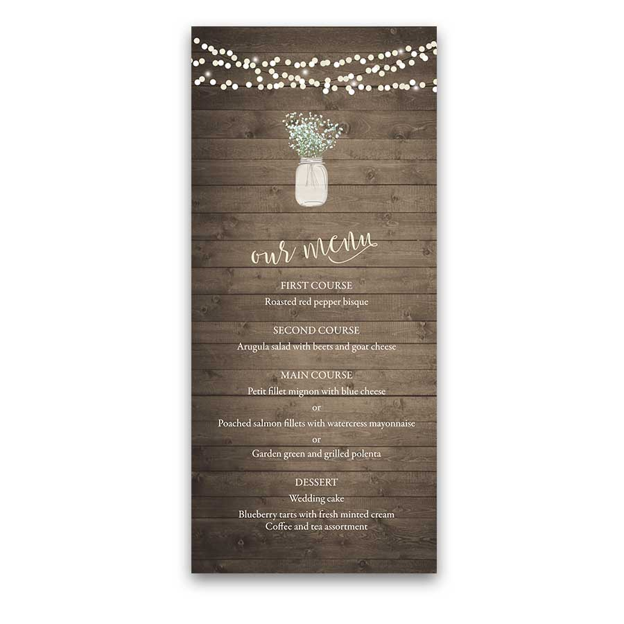 Rustic Chic Wedding Menu Mason Jar Baby's Breath