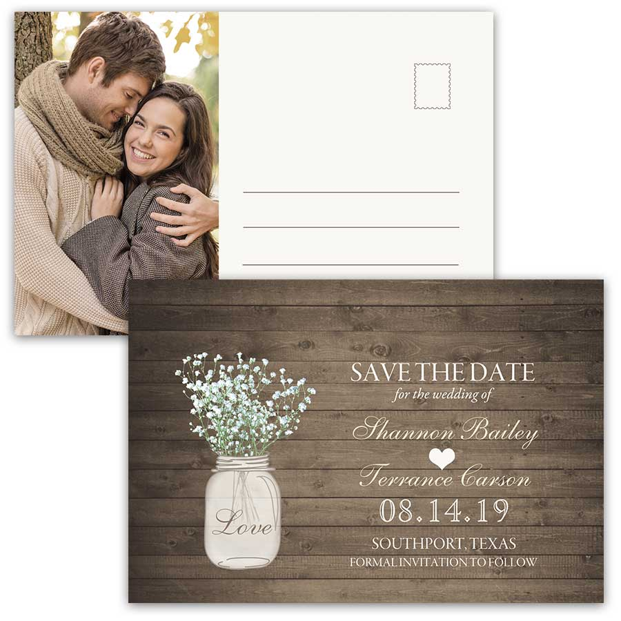 Rustic Save the Date Postcards Mason Jar Photo Card