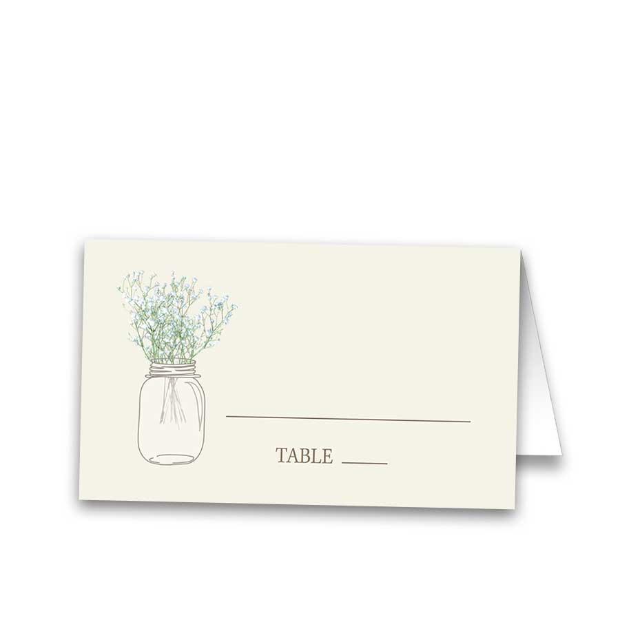 Mason Jar Rustic Wedding Seating Escort Place Cards