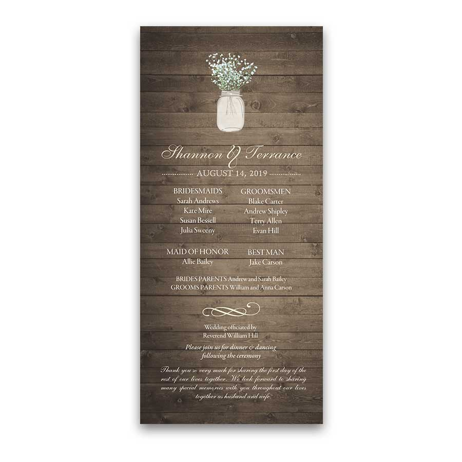 Rustic Mason Jar Wedding Program Order Of Service