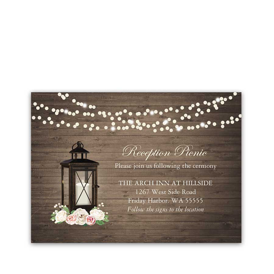 Rustic Wedding Reception Cards Metal Lantern Blush Florals