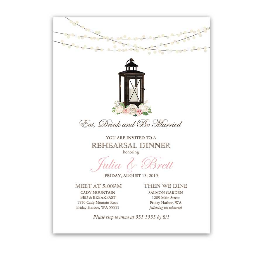 Rustic Rehearsal Dinner Invitation Lantern with Blush Peonies