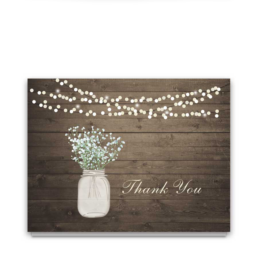 Rustic Mason Jar Wedding Thank You Card Barn Wood Lights