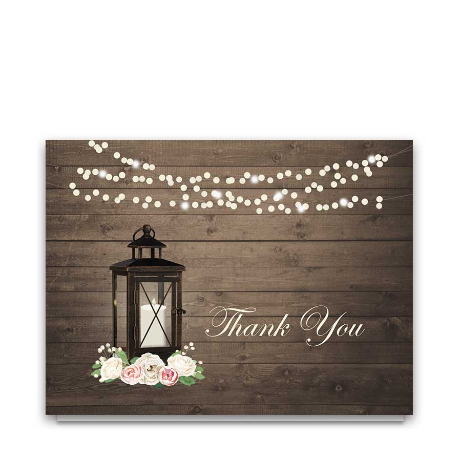 Wedding Thank You Cards Rustic Lantern Watercolor Peonies