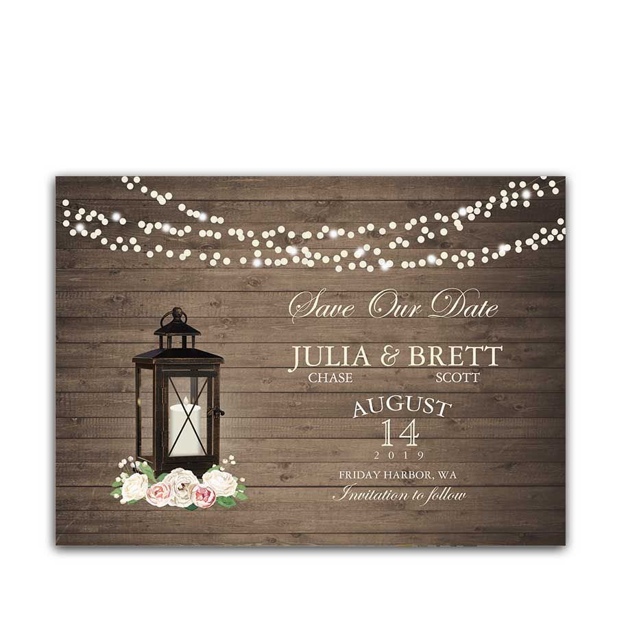 Save the Date Cards Rustic Metal Lantern Blush Peonies