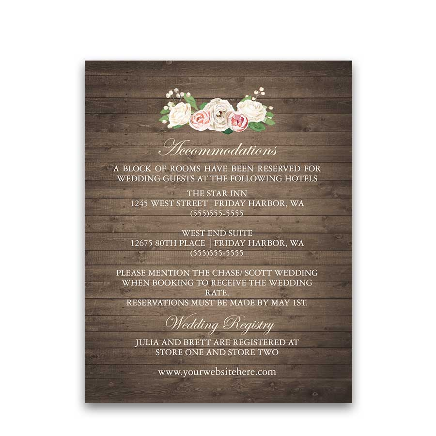 Rustic Wedding Guest Information Cards Barn Wood
