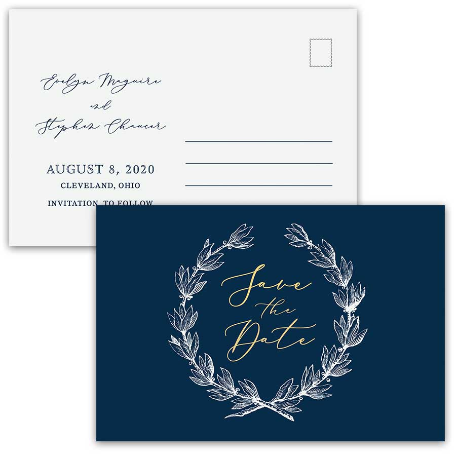 Save the Date Postcard Navy Blue Gold Greenery Wreath Script
