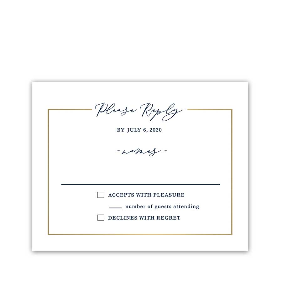 Wedding Response Cards Navy Blue Gold Script Handwriting
