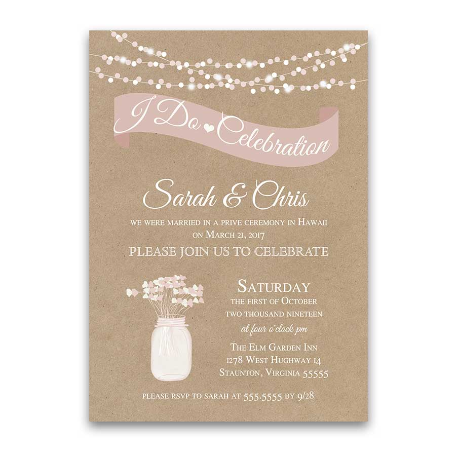 I DO BBQ Wedding Reception Only Invitation Rustic Kraft