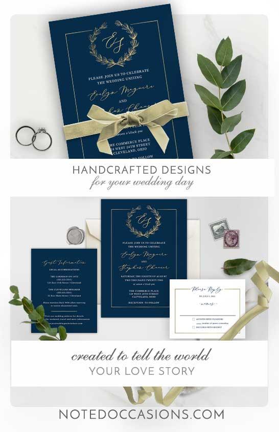 Wedding Invitation Navy Blue and Gold Wreath