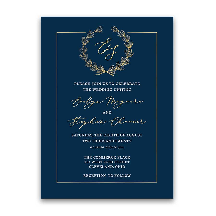 Wedding Invitation Navy Blue Gold Vintage Greenery Wreath