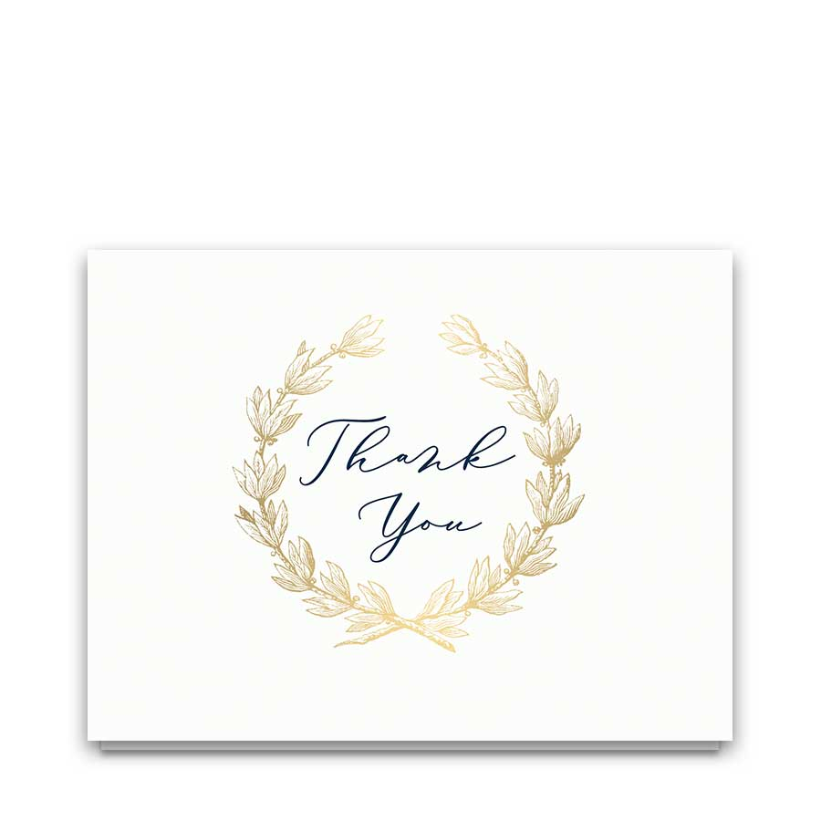 wedding thank you card template navy gold greenery wreath