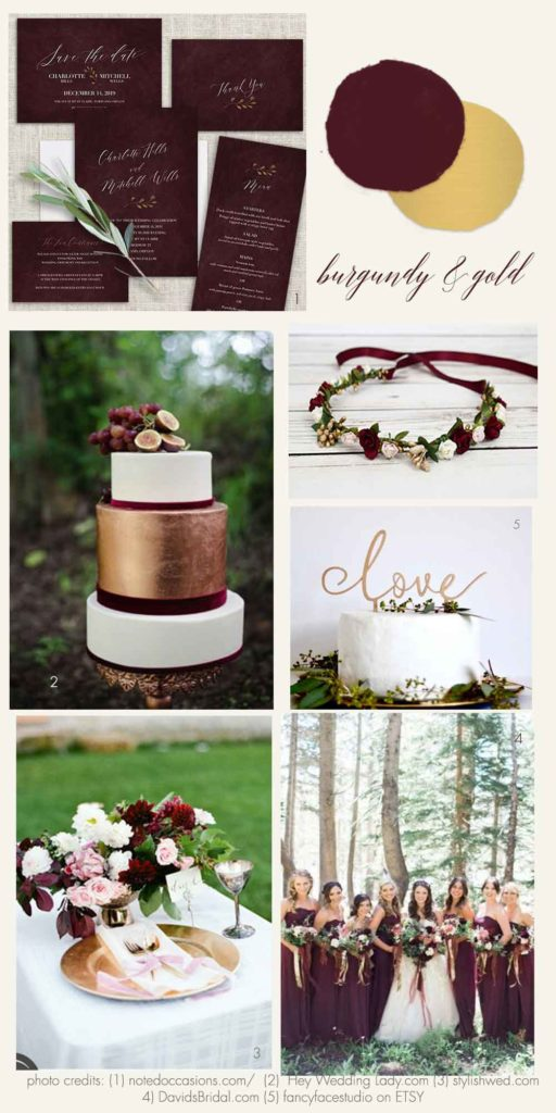 Burgundy and Gold Wedding Inspiration And Ideas