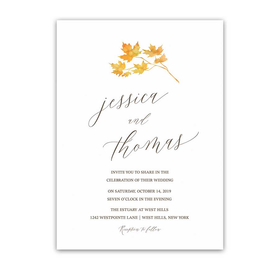 Fall Leaves Wedding Invitation Watercolor Leaves