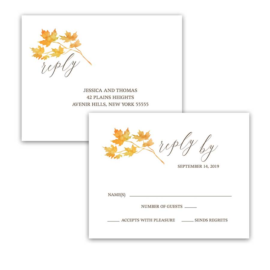 Wedding Rsvp Postcards Fall Leaves Watercolor Autumn Wedding