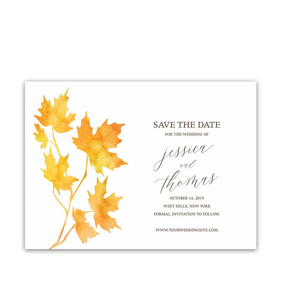 Fall Wedding Save the Date Cards Rustic Watercolor Leaves