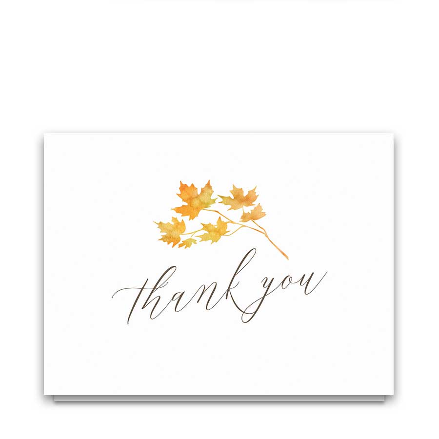 Fall Leaves Wedding Thank You Cards Watercolor Autumn Leaves
