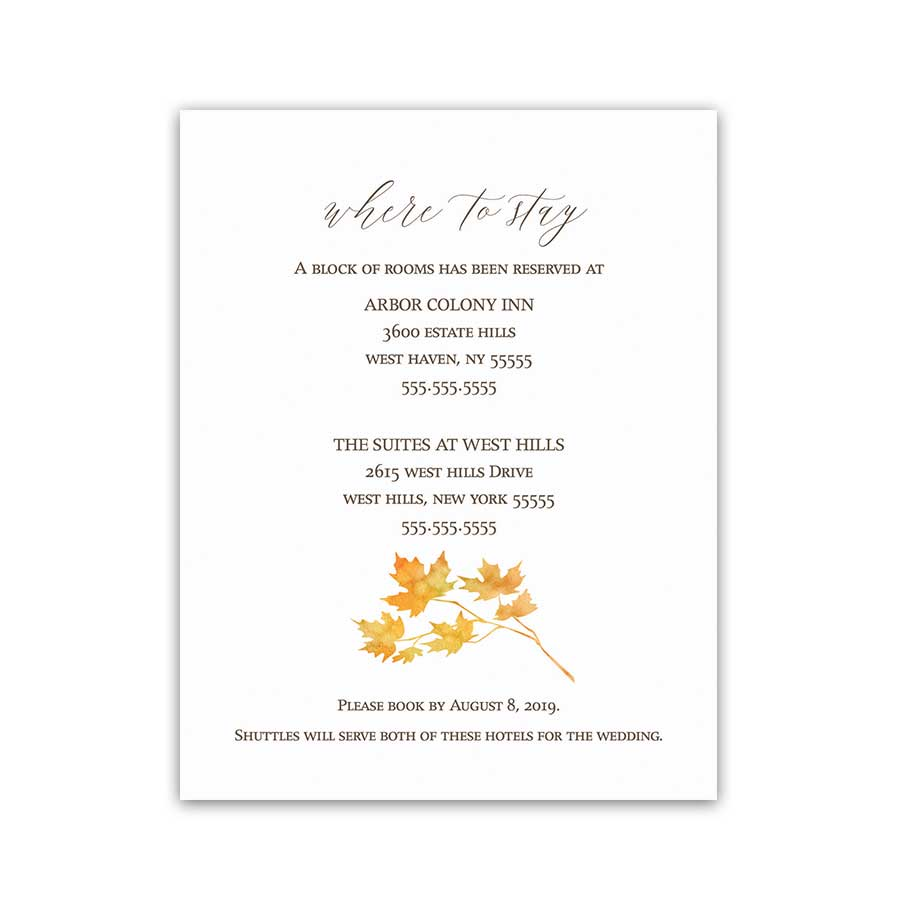 Fall Wedding Guest Information Cards Autumn Leaves