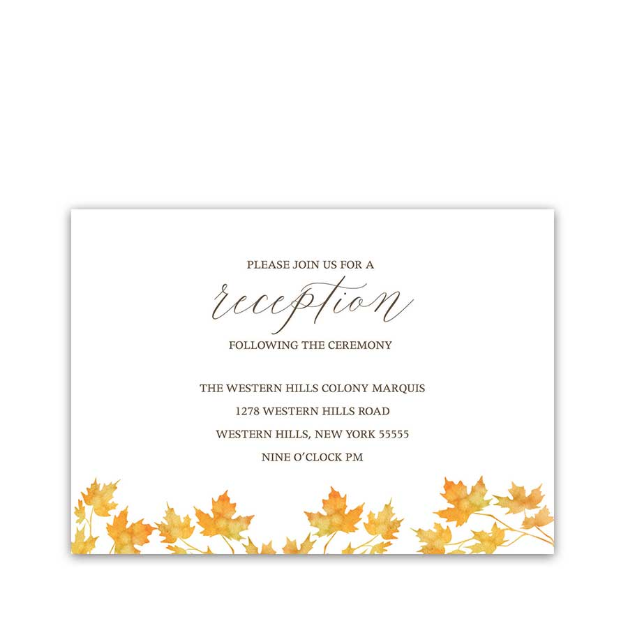 Rustic Fall Leaves Wedding Reception Information Cards