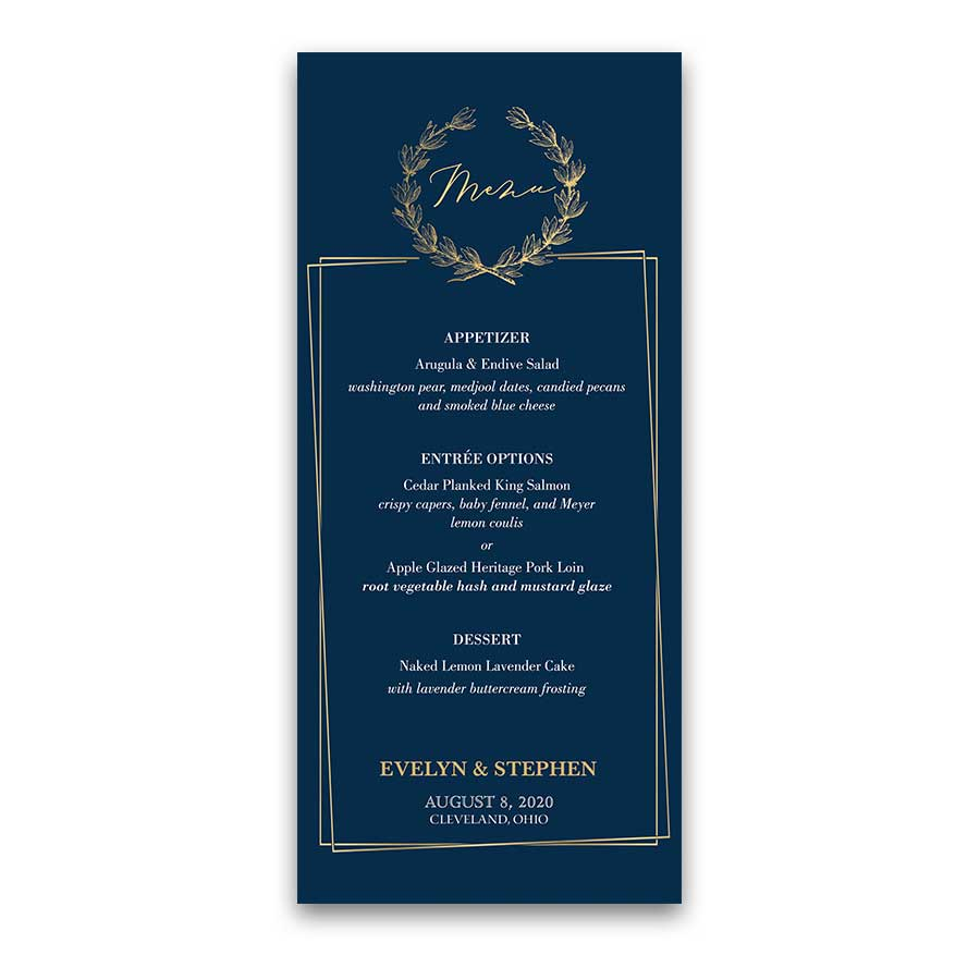Geometric Frame Wedding Menu Navy Blue Gold Greenery Wreath