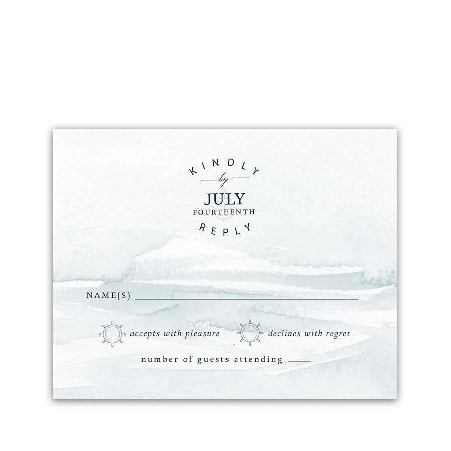 Nautical Wedding RSVP Response Cards Anchor Ship Wedding