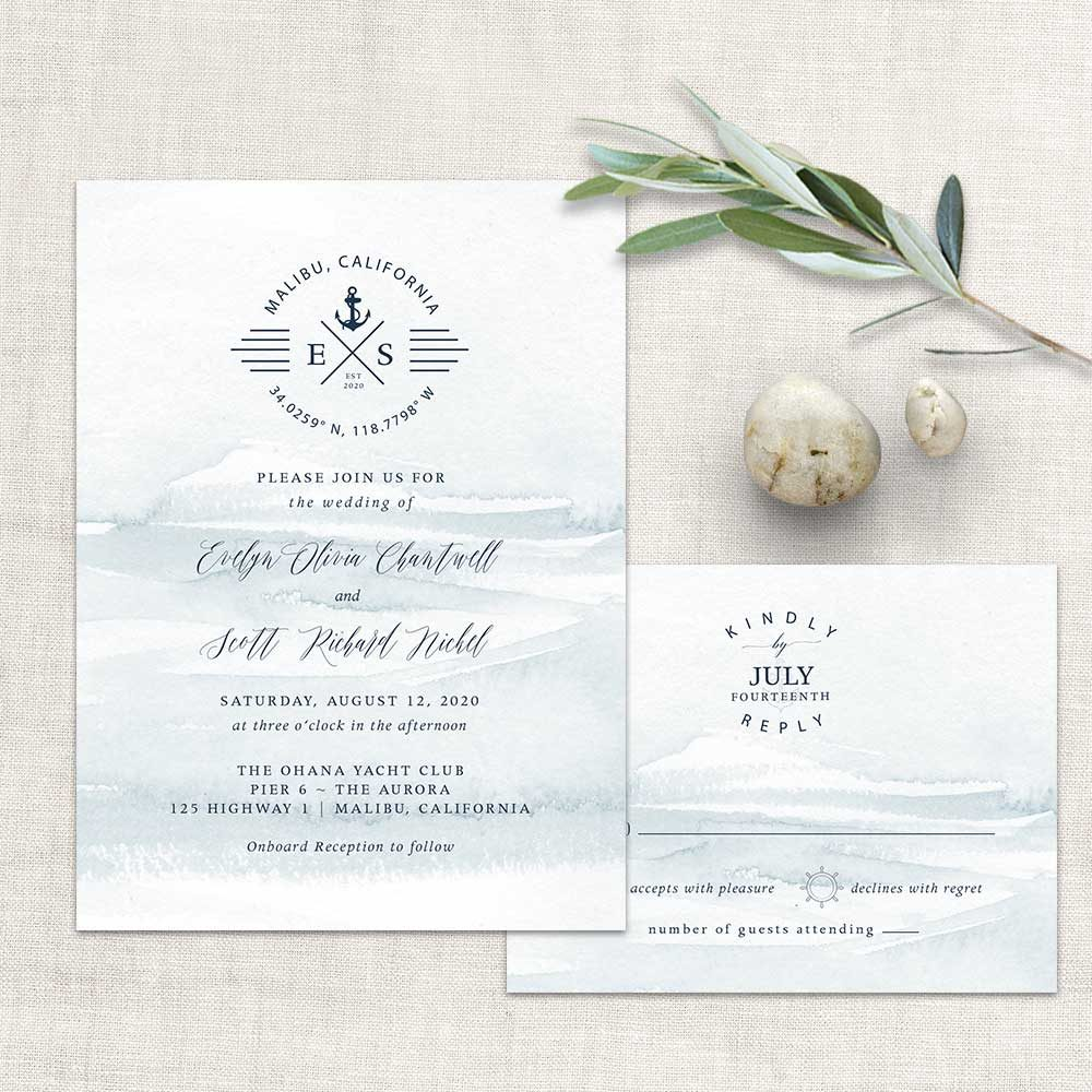Nautical Wedding Invitations Anchor Compass Script Wedding Set