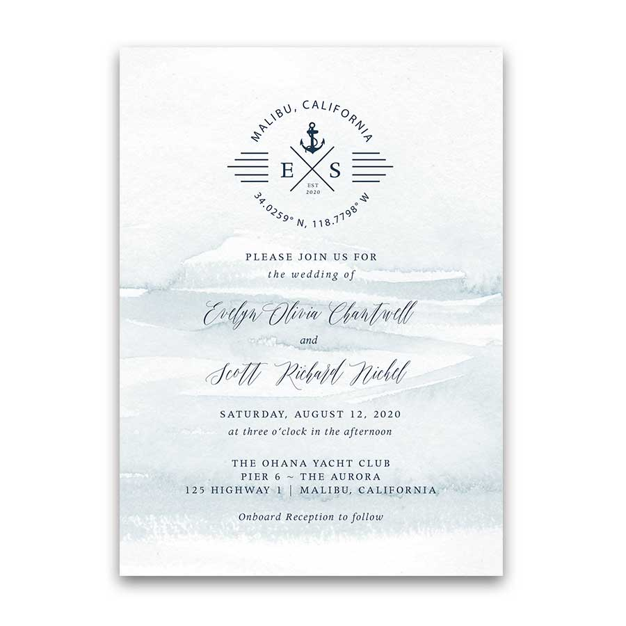 Nautical Wedding Invitations Anchor Compass Script Wedding Set