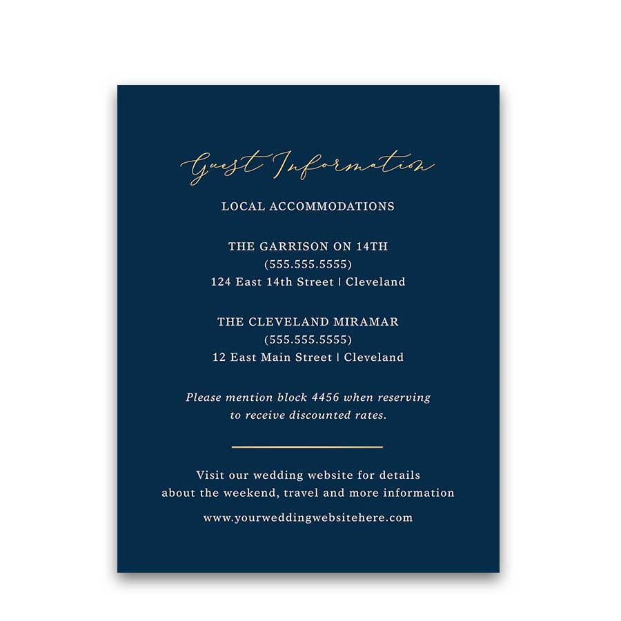 Navy Gold Wedding Guest Information Cards Calligraphy Script