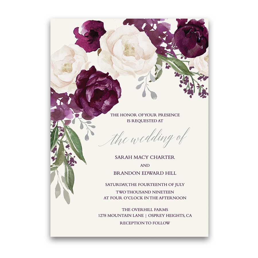 Wedding Invitations Personalized Burgundy Wine Fall Floral