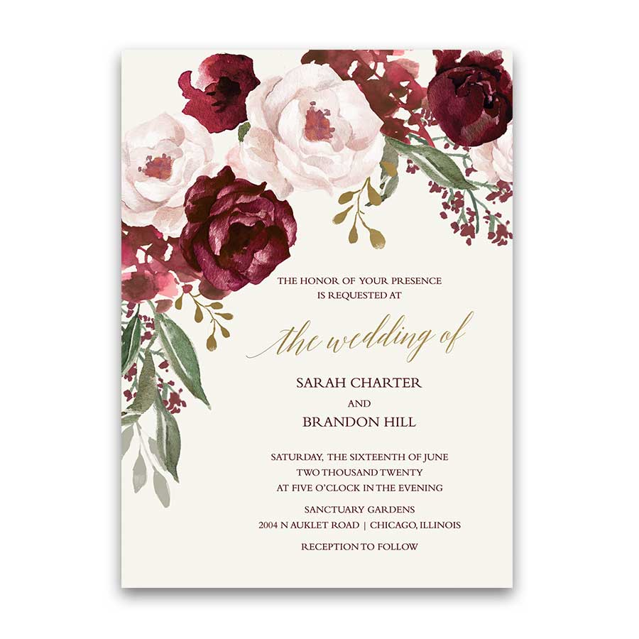 Fall Wedding Invitations Burgundy Wine Gold Blush Floral