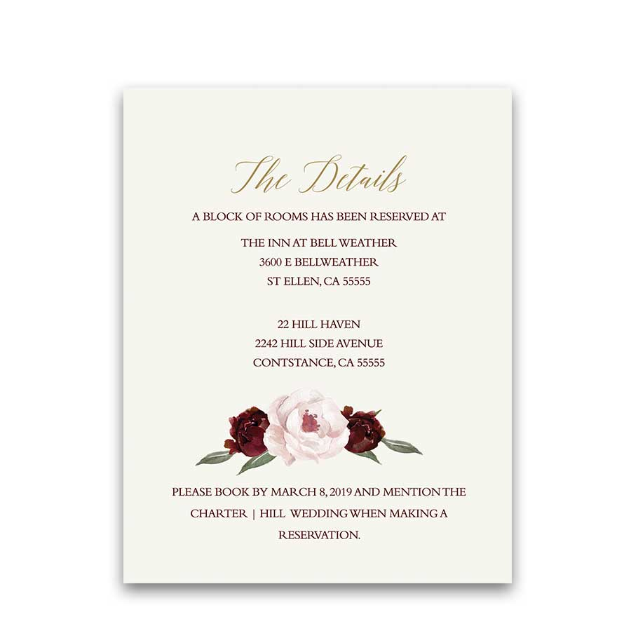 Wedding Guest Additional Information Cards