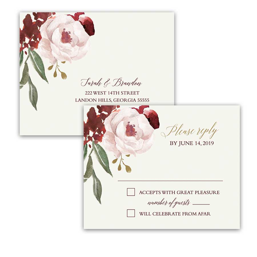 Fall Floral Wedding RSVP Postcard Burgundy Blush Gold