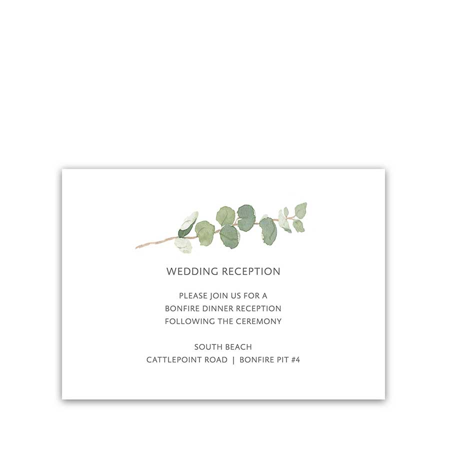 Wedding Reception Details Cards Elegant Greenery Sprigs