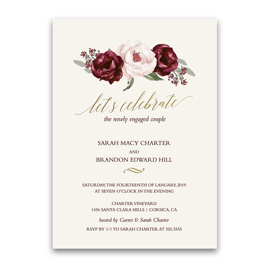 floral engagement party invitations burgundy fall wedding - Engagement Party Invite